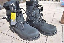 Cat Caterpillar Black Leather Studded Rock Biker Boots New 5 38 BNWOB