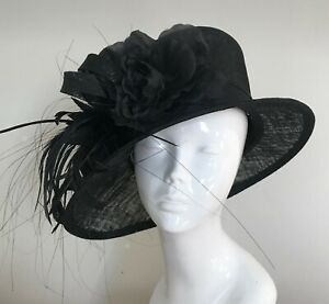 Exclusive Black Designer Millinery by Hat Couture Wedding Bridal Race Hat