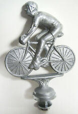 Topper 1950's man on bicycle car auto hood ornament mascot sanded aluminum USA