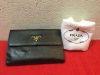 Authentic PRADA Saffiano Genuine Leather W Hook Bifold Long Wallet
