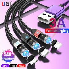 2020 540º 3A Fast Magnetic Cable Braid Type-C Micro USB Charger Line Quick QC3.0