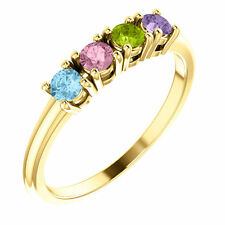 Birthstone Ring 14kt Yellow Gold / White Gold or Rose Gold Four Birthstones
