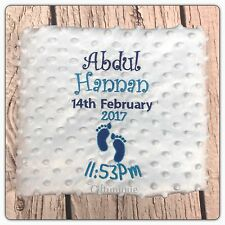 PERSONALISED Baby Pram Cot Blanket BIRTH DETAILS Girls Boys New Gift 2