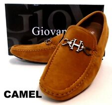 Men's GIOVANNI faux suede loafers shoes white orange navy camel brown black 9512