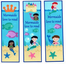 3 CHILDRENS BOOKMARKS,MERMAIDS LOVE TO READ.18cm x5cm laminated