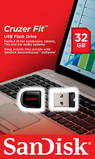 New Sandisk 32GB Cruzer FIT USB 2.0 Flash Mini Pen Drive SDCZ33-032G-B35 RETAIL