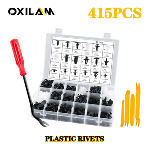 415PCS Bumper Retainer Clips Car Plastic Rivets Fasteners Push Retainer Kit EOJ
