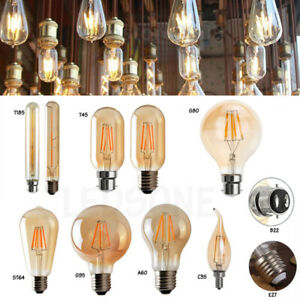 E27 B22 LED Edison 4/8W Vintage Dimmable Retro Lamp Filament Bulb