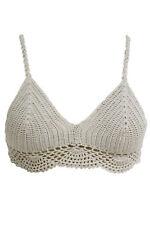 Sexy Khaki Crochet Cami Bralette Cropped Top Womens Clubwear Hot Vegas Shirt XXS