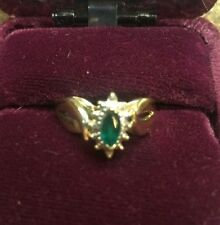 10k Solid Gold Emerald Ring With Diamond Accents Sz 6.5