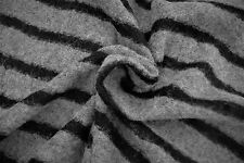 A91 BOILED FELTED WOOL-MOHAIR BLEND MID GREY'S WITH BLACK BOLD STRIPE SOFT KNIT