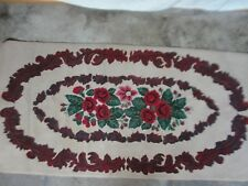 """Large Antique Hooked Rug Runner New England Hand Made 70 1/2""""Long X 36""""W Roses"""