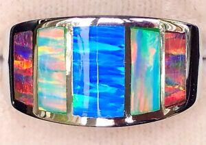 HANDSOME Wide Windows Ring Blue Red Green Opal Sterling Silver 12 Men Man Y