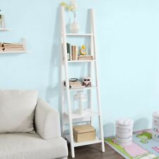 SoBuy 5 Tiers Ladder Shelf,Storage Display Wall Shelf Bookcase,White,FRG101-W,UK