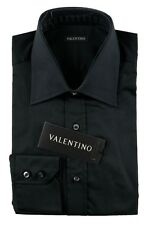 Men's VALENTINO Solid Black Cotton Spread Collar Dress Shirt 16 40 M NWT $245!