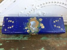 Antique Victorian Celluloid Glove Box Royal Blue Hand Painted Woman Silk Lining
