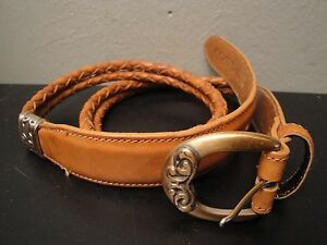 FOSSIL Classic Leathers Tan Braided Brass Detailed Leather Buckle S/M