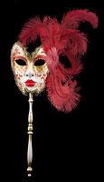 Maschera Di Venezia Per Bastone Piume Struzzo Rosso-Oro-Carnevale venitien-1429