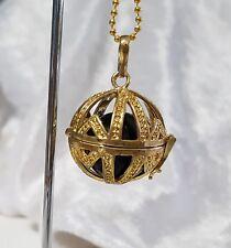 Gold & Black Geometric Design Harmony Chime Ball Pendant w/Chain