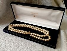 VINTAGE MIKIMOTO CULTURED PEARL DOUBLE CHOKER NECKLACE WITH BOX