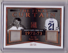 JACQUES PLANTE BOBBY BAUN /18 Leaf In The Game-Used Final Curtain Vintage Jersey