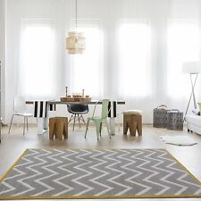 Long Hallway Door Entrance Runner Living Room Bedroom House Rug Mat 60cm X 240cm Grey Ochre Zig Zag