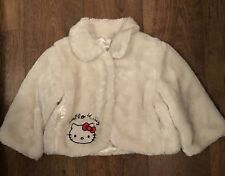 GIRLS 7-8 YRS HELLO KITTY CREAM FAUX FUR SHORT JACKET WINTER/TOWIE/XMAS/PARTY/