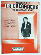 """La Cucaracha"" The Cockroach Song Mexico Authentic 1935 Vintage Sheet Music"