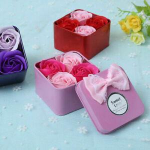 4PC Scented Rose Flower Petal Bath Soap for Foot Bath Body Bath Wedding Gift Box