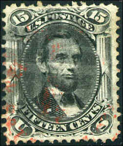 1868 US #91 A33 15c Used Red Cancel Stamp Catalogue Value $725, Grade 70 Cert