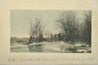 1909 Antique Art Engraving Postcard Hand Colored Christmas Scene