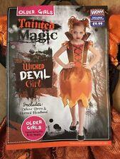 WICKED DEVIL GIRL  - Halloween Fancy Dress  - 8-10  Years  - inc Horned Headband