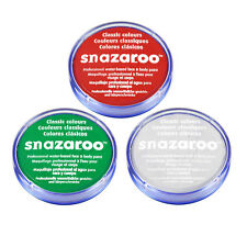 18ml SNAZAROO FACE & BODY PAINT SET (RED WHITE & GREEN) Welsh/Wales/Italy