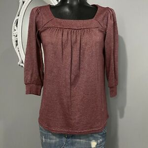 One Size OS - NWT MICHAEL STARS Maroon Square Neck Blouse Top #0135