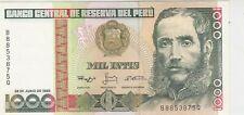 Mazuma *F130 Peru UNC Note 1000 Intis June 1988 B8853875Q UNC Foxing