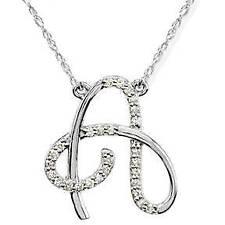 "Diamond ""A"" Initial Pendant 18"" Necklace 14K White Gold"