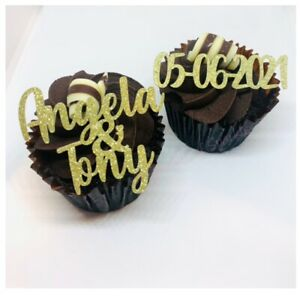 PERSONALISED WEDDING ENGAGEMENT GLITTER CUPCAKE TOPPERS NAMES DATE PICKS TOPPER