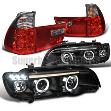 2001-2003 BMW E53 X5 Halo LED Projector Headlights Black+Tail Lights Red/ Smoke