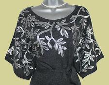 MONSOON Grey Sequin Knitted Kimono Sleeve Tunic Dress  M  Formal Casual