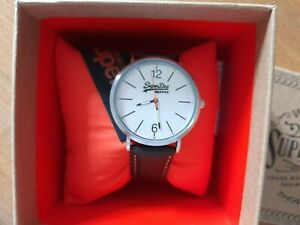 Men's SuperDry Watch Brown Strap with Off-White/Silver Dial
