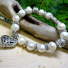 Genuine Pearl Beaded Bracelet with Stainless Steel Heart Charm