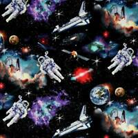 In Space Astronauts Solar System Planets Galaxy 100% cotton fabric by the yard