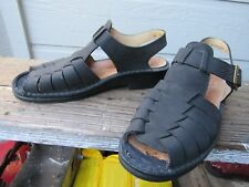 Finn Comfort Black Leather Fisherman Sandal UK 5.5 Women's US 8 Buckle Backstrap