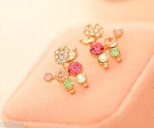 Crystal Rhinestone Ear Stud Earrings Fashion 1pair Poodle Women Lady Elegant