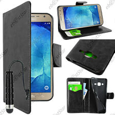 Housse Portefeuille Simili Cuir Noir Samsung Galaxy J3 2016 SM-J320F Mini Stylet