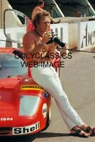 COOL HUNK STEVE MCQUEEN AUTO RACING PHOTO CAMERA TELEPHOTO LENS TAKING PICTURES