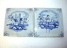 Zwei Fliesen Kacheln 18-19 Jh. Delfter Art