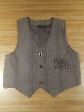 Calvin Klein 4T Baby Dress Vest Gray Plaid Formal Wedding CK Child Casual A3