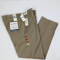 DOCKERS Men's Khaki Pants W36 x L30 Color Tan Flat Front Slim Tapered Fit