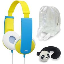 JVC HA-KD5 YELLOW Tinyphones Travel Gift Set with Panda Neck Rest & Backpack NEW